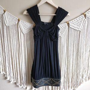 SKY Black Studded Ruched Mini Dress Size Small